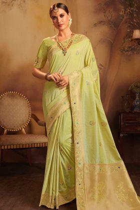 Fancy Jacquard Silk Saree Pista Color With Weaving Work