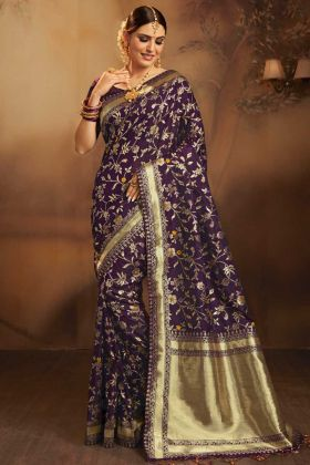 Fancy Jacquard Silk Wedding Saree Dark Purple Color With Weaving Work