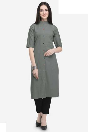Fancy Kurti Grey Color Cotton In Butttons Work