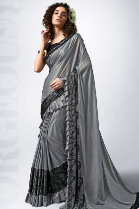 Fancy Lace Border Work Grey Color Lycra Party Wear Ruffle Saree