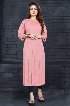 Fancy Linen Rayon Kurti Light Pink Color