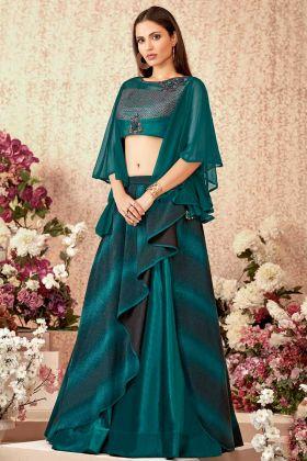Fancy Lycra Designer Lehenga Choli Teal Green Color With Sequins Work