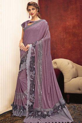 Fancy Lycra Party Wear Ruffle Saree In Purple Color