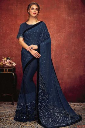 Fancy Lycra Reception Saree In Blue Color