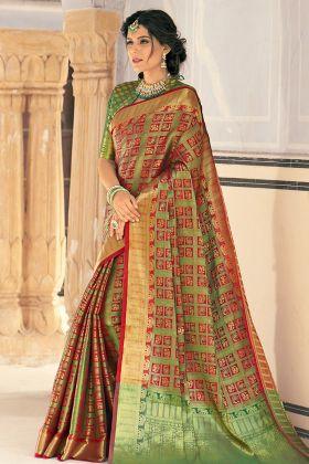 Fancy Multi Color Banarasi Weaving Silk Saree