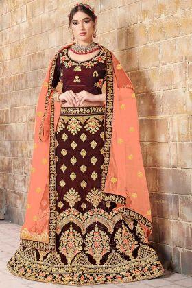 Fancy Multi Zari Embroidery Work Maroon Color Velvet Bridal Lehenga Choli