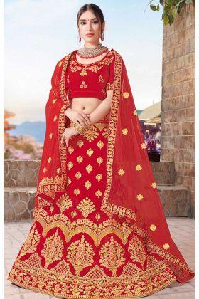 Fancy Multi Zari Embroidery Work Velvet Red Lehenga Choli