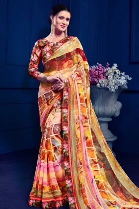 Fancy Printed Multi Color Saree Online