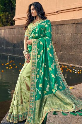 Fancy Saree Green And Pista Green Banarasi Silk Jacquard