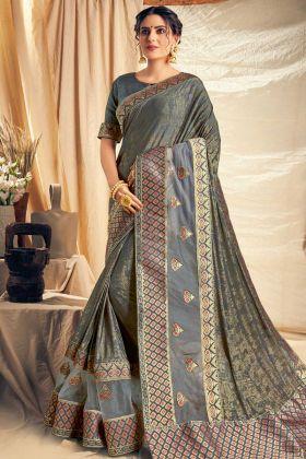 Fancy Silk Party Wear Saree In Grey Color