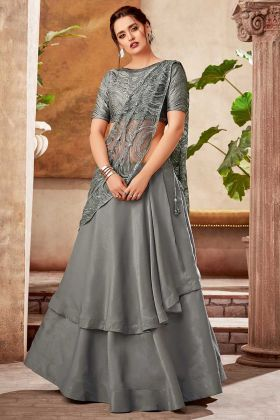 Fancy Velvet Grey Party Wear Lehenga Saree For Girls