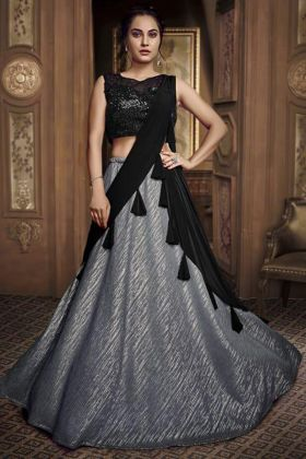 Fancy Work Grey Black Fancy Fabric Wedding Wear Lehenga