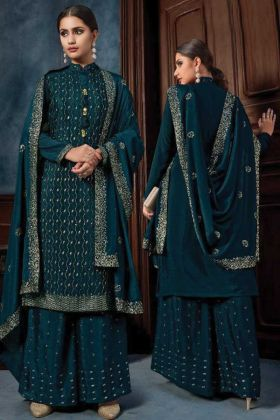 Fantastic Designer Chiffon Teal Blue Color Palazzo Suit