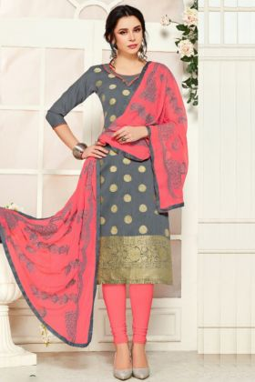 Fantastic Grey Color Banarasi Silk Salwar Suit Material For Women