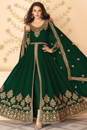 Fantastic Heavy Georgette Green Color Indo-Western Anarkali Suit