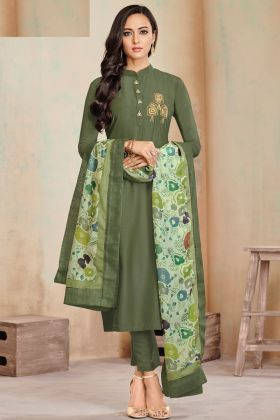 Fantastic Mehndi Color Zam Cotton Salwar Kameez Collection