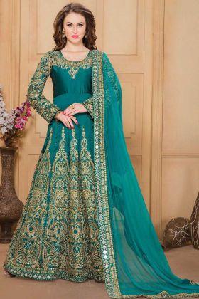 Fantastic Rama Color Fancy Embroidered Taffeta Silk Anarakali Suit