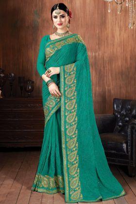 Fantastic Super Hit Rama Green Color Georgette Saree