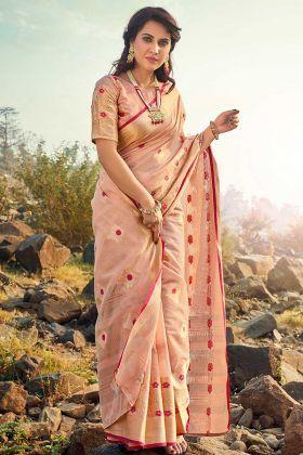 Fantastic Peach Color Festive Wear Cotton Saree