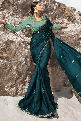 Fantastic Teal Blue Color Dola Silk Saree Collection