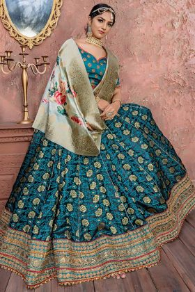 Fascinating Pine Green Banarasi Silk Wedding Lehenga Choli With Dori Work