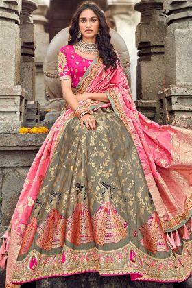 Fashion Attractive Grey Silk Semi Stitched Lehenga Choli