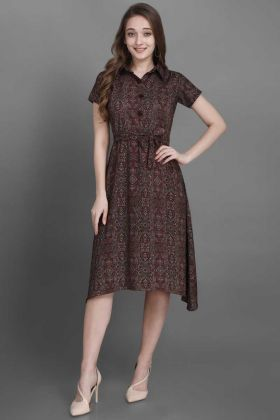 Fashionable Brown Printed Work Rayon Readymade Short Kurti