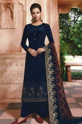 Fashionable Crepe Navy Blue Shalwar Kameez