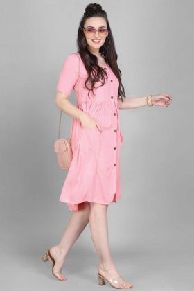 Fashionable Kitty Party Wear Light Pink Rayon Kurti