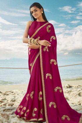 Fashionable Magenta Pink Soft Art Silk New Saree Designs