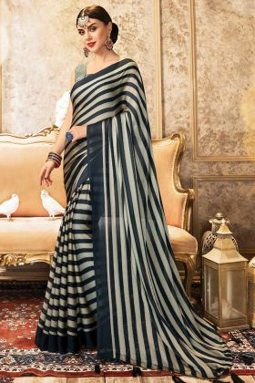 Fashionable New Collection Of Chiffon Saree In Black Color