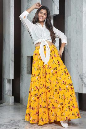 Fashionable White Rayon Top With Crepe Yellow Skirt