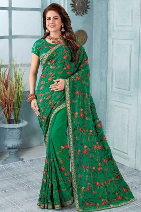 Fashionable Green Georgette Saree In Resham Work