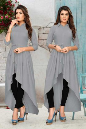 Fashionable Ladies Grey Rayon Party Wear Kurti