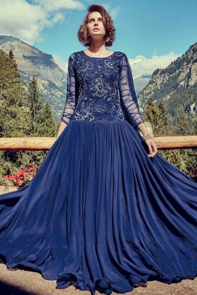 Fashionable Royal Blue Georgette And Net Partywear Gown For Girls