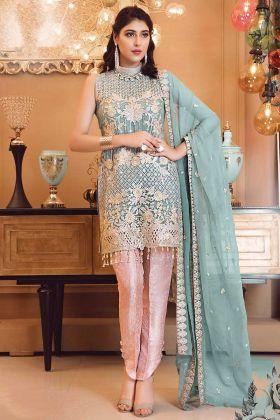 Faux Georgette Pakistani Style Bridal Wear Suit Steel Blue