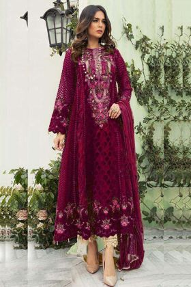 Faux Georgette Pakistani Suit In Four Side Lace Border