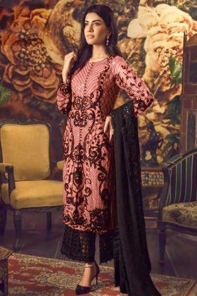 Faux Georgette Peach Color Palazzo Dress