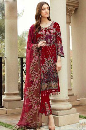 Faux Georgette Red Pakistani Dress For Eid Festival