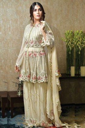 Faux Georgette Yellow Color Pakistani Style Salwar Suit