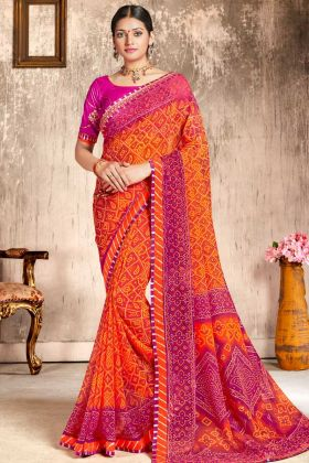 Faux Georgette Designer Bandhani Saree Orange and Pink Color Zari Work With Raw Silk Blouse