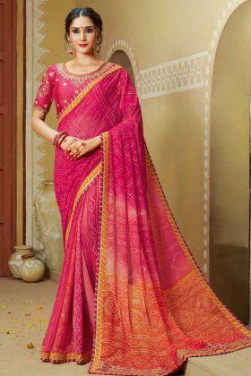 Faux Georgette Designer Bandhani Saree Stone Work Pink and Orange Color