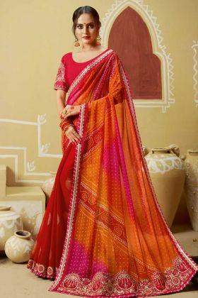 Faux Georgette Festival Bandhani Saree Thread Embroidery In Orange and Red Color