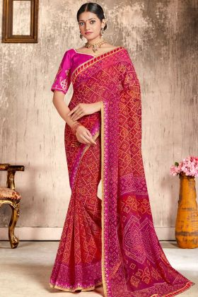 Faux Georgette Festival Bandhani Saree Zari Work In Pink and Red Color