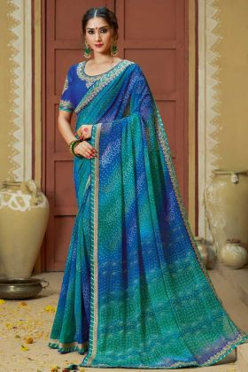 Faux Georgette Festival Bandhej Saree Blue and Green Color With Stone Work