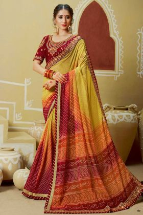 Faux Georgette Indian Designer Bandhej Saree Yellow and Orange Color With Zari Work