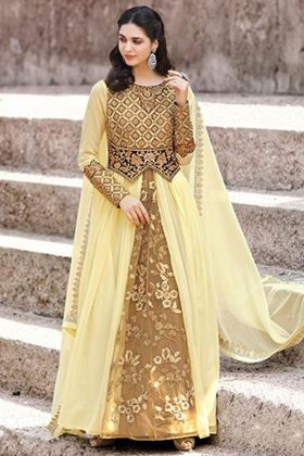 Faux Georgette Party Wear Salwar Suit In Cream Color