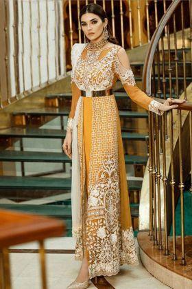 Faux Georgette Salwar Kameez Heavy Embroidery Work In Mustard Color