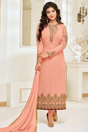 Faux Georgette Straight Salwar Kameez Stone Work In Peach Color