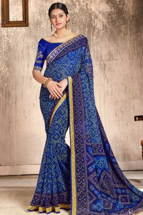 Faux Georgette Traditional Bandhej Saree Blue Color With Printed Work